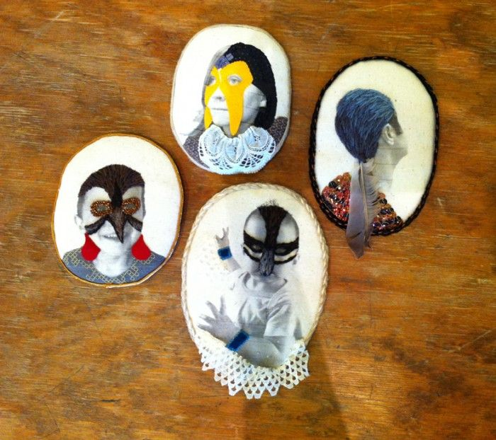 Nesting: Self as Plover, Pigeon hair, Waddler & Red cheeks 2014 by Sera Waters