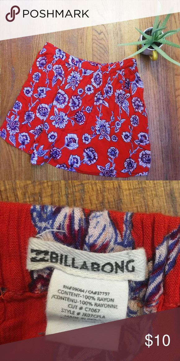 Floral Mini Skirt Red, floral pattern mini skirt. Excellent condition!  Length: 16in. Waist: 28in. (Stretch elastic back) Size: Med Billabong Skirts Mini