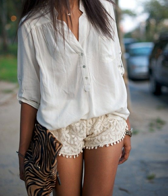 shorts: Fashion, Style, White Shirts, Laceshort, Summer Outfits, Animal Prints, White Lace, White Blouses, Lace Shorts