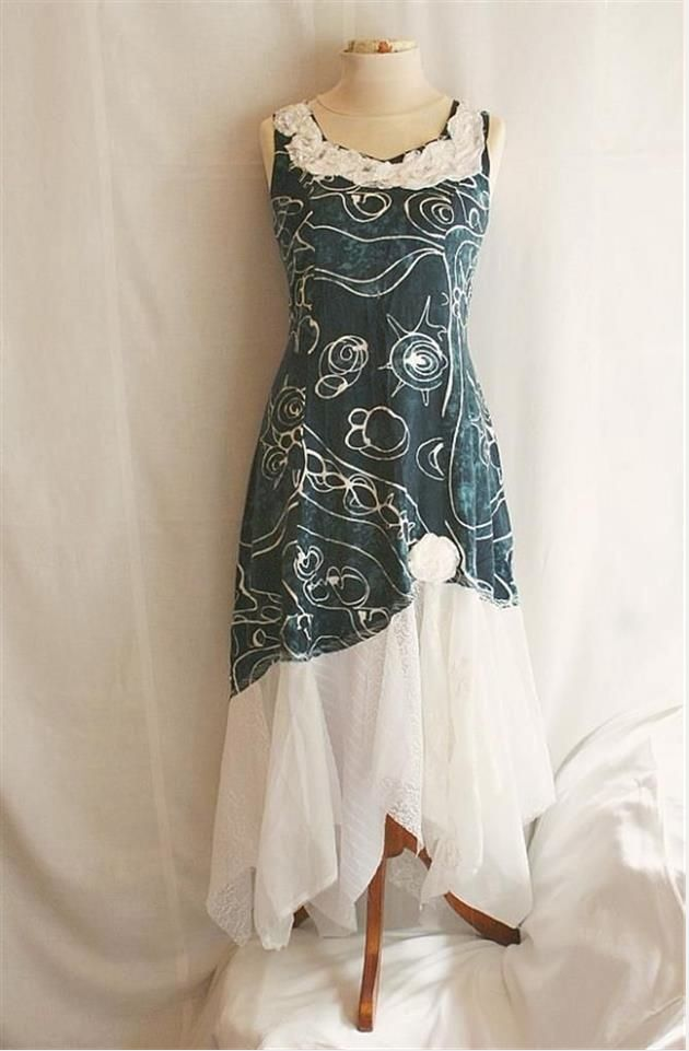 fun recycled party dress, eco fashion, flattering, hand created, flowing