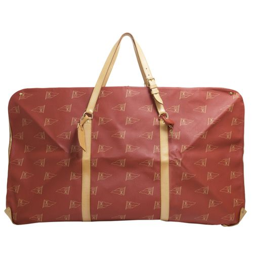 """Authentic Louis Vuitton America's Cup Garment Bag  CONDITION: Good.  Light patina throughout vachetta leather, light marking and creasing on canvas.  Material: Canvas Color: Orange Date Code: SP0994 Exterior Features: Adjustable strap handles, zip around opening, snap button corners for duffel conversion, gold tone hardware Interior Features: Brown fabric lining, zipped compartment with clothing hanger Measurements: 35"""" x 20.5"""" x 2""""    SKU: HA02090"""