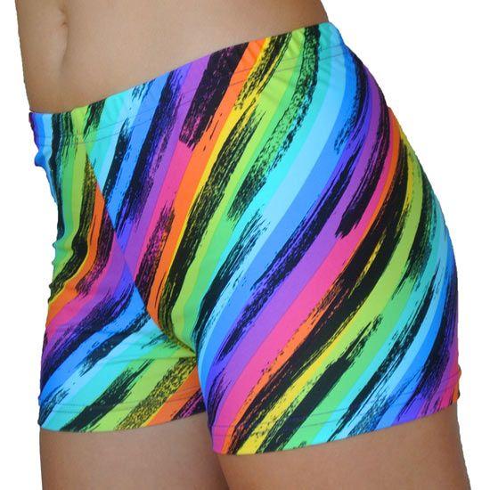 Gem Gear Rainbow Stripes Spandex Volleyball Short