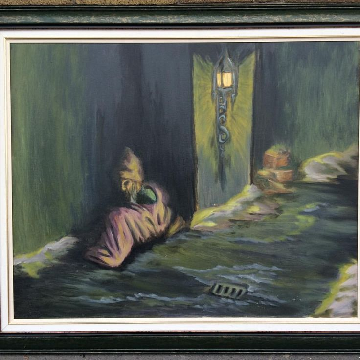 """65 Likes, 3 Comments - Zoddo - Painter Of Dark (@immortalzoddo) on Instagram: """"This old painting from 2007 """"Homeless winter"""" framed. This ones available still. Take it home…"""""""