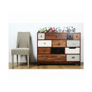 Vintage Style 11 Multi Coloured Drawer Chest in Cherry Finish