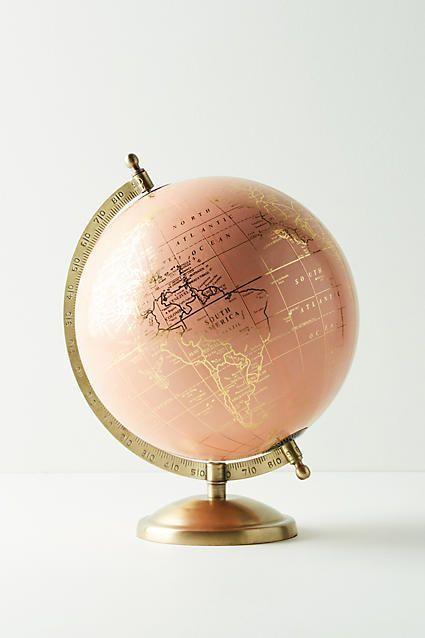 So cute! Rose gold :) Anthropologie Decorative Globe #anthropologie #anthrofave #anthrohome #globe #homedecor #rosegold #ad