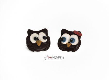 Aşık Baykuşlar polimer kil broş- yaka iğnesi Owls in love polymer clay badges-brooch