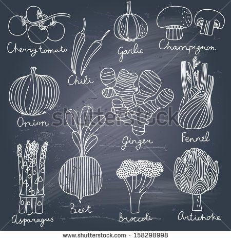 Tasty vegetables in vector set - cherry tomato, chili, garlic, champignon, onion, ginger, fennel, asparagus, beet, broccoli, artichoke. Tast...