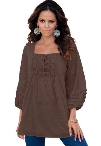 Roamans Women's Plus Size Emma Clip Dot Chiffon Tunic From Denim 24/7 (Coffee,12 W) Roamans,http://www.amazon.com/dp/B00BPW56WO/ref=cm_sw_r_pi_dp_LHT4rb16VH340BCG