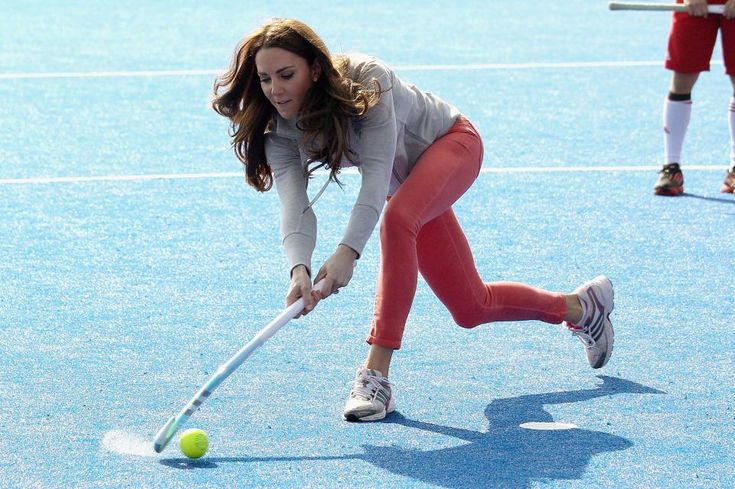 Kate was a keen hockey player in her youth, here she is seen playing with the Team GB team at the Olympic Park in London ahead of the 2012 Olympics