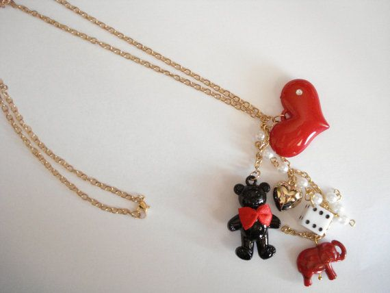 Christmas charm necklace Red charm jewelry Gift for teen by Poppyg