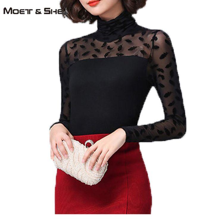 Spring Women Mesh Black Blouse Pattern Feather/ Rose /Polka Dot /Jacquard Shirts Turtleneck Tops Women Clothes Plus Size T65230R