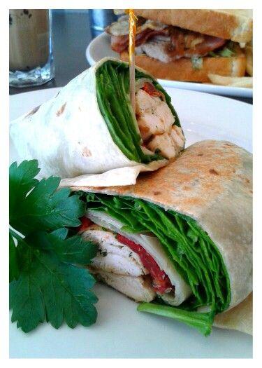 Pesto chicken wrap. Trovatino Cafe. Wareemba.