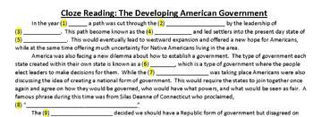 Cloze Reading Strategy: Articles of Confederation to the U