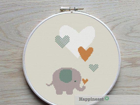 Cross stitch pattern elephant with hearts