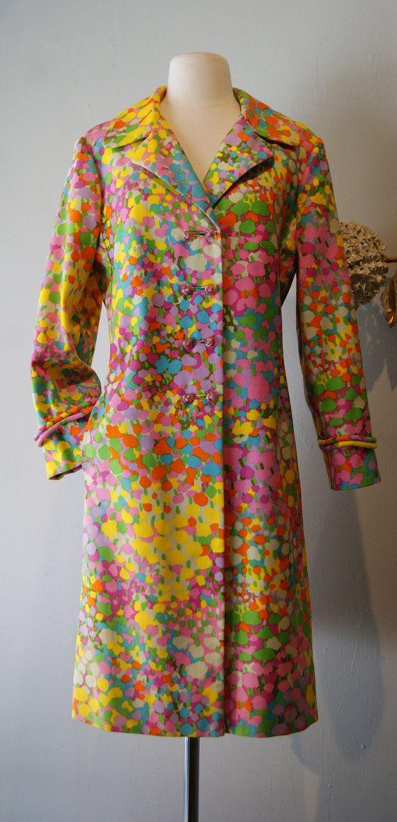 Vintage 1960s Ladies Coat  60s Technicolor Coat by xtabayvintage