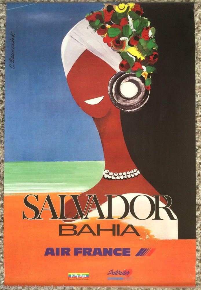 Original Travel Poster Brazil Air France Salvador Bahia Beach Affiche Ancienne #Vintage