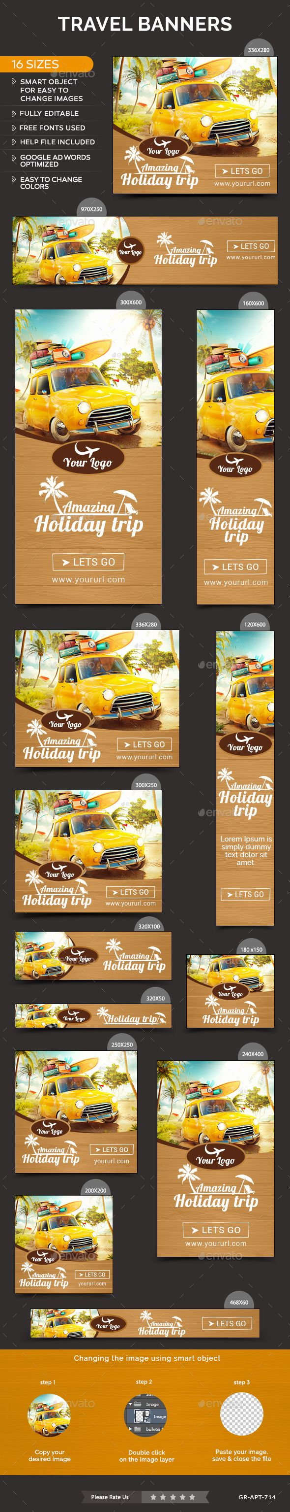 Travel Banners Template #design Download: http://graphicriver.net/item/travel-banners/12062212?ref=ksioks