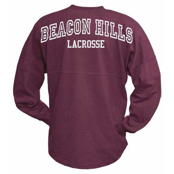 Teen Wolf Beacon Hills Lacrosse Oversized Jersey with Number Glitter ($38) ❤ liked on Polyvore