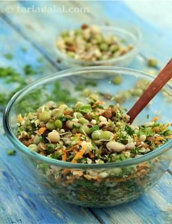 Simple, fuss-free and delicious: the best way to describe this salad. It is a crisp and tangy salad with basic Indian flavours from chaat masala, coriander and lemon juice. Serve this as a salad, or serve this as a snack if you are watching your weight. It is extremely filling and healthy. However ensure not to overcook the sprouts.