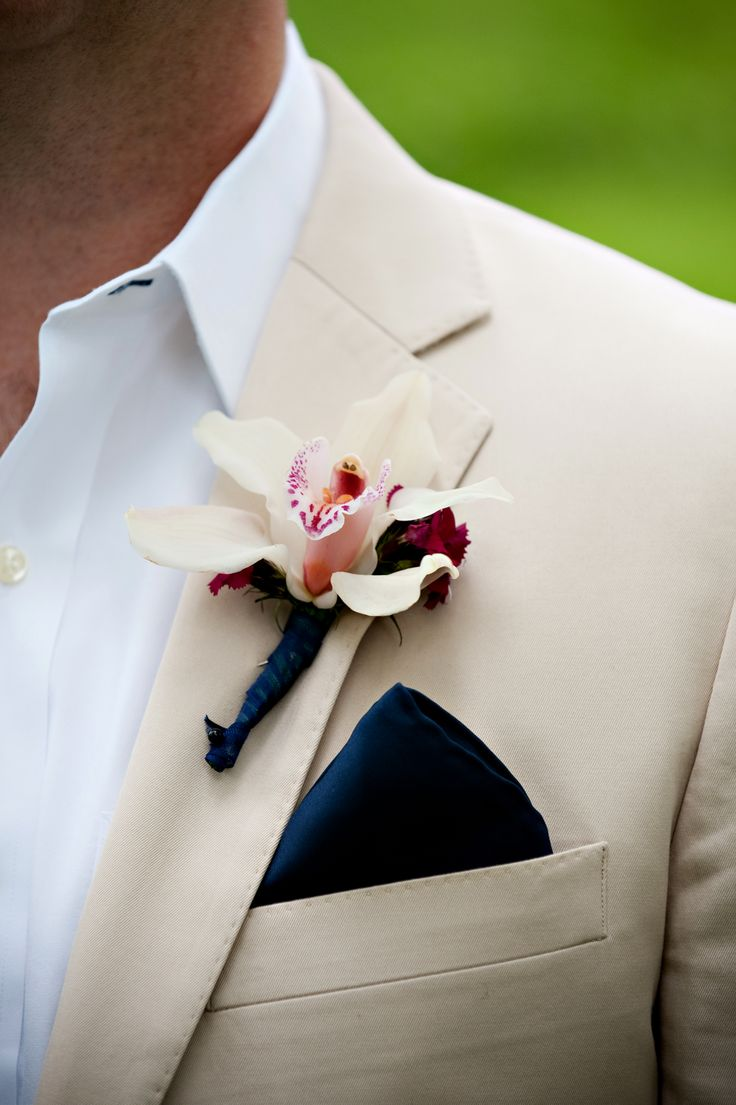easy, casual, grooms attire; nice black pocket square will dress it up for ceremony; very quality shirt needed - breathable and cool but will hold up