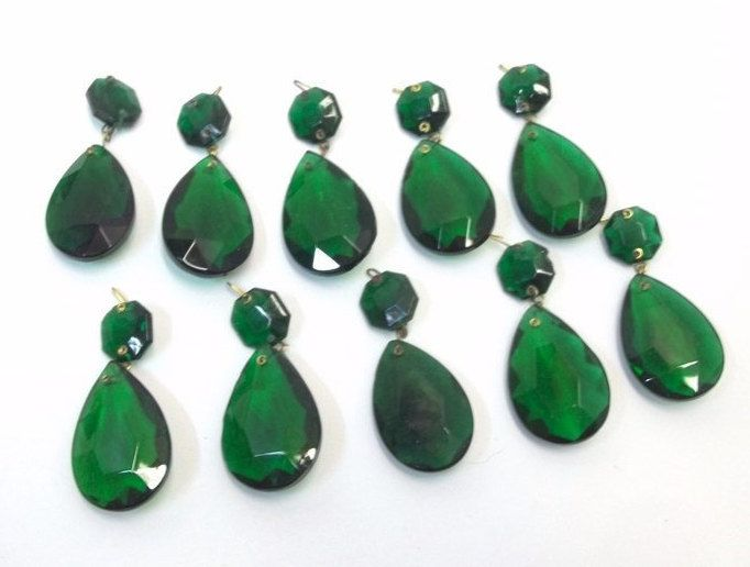 161 best chandelierlighting jewelry suppy images on pinterest vintage lot of ten emerald green chandelier crystals new old stock nos 15 green teardrop mozeypictures Image collections