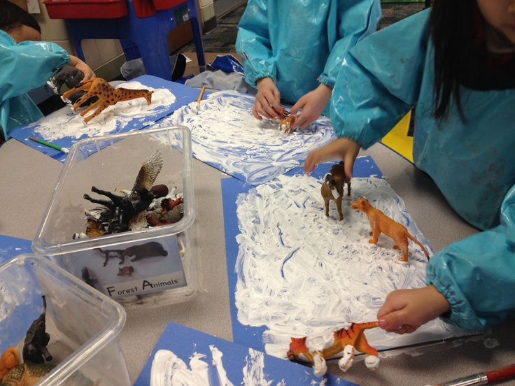 "Animal tracks in the ""snow"": mix up some shaving cream and Elmer's glue, give your kids plastic animals and watch them have a blast! Footprints dry into a cool, puffy texture. I like to prepare them by reading Footprints in the Snow by Mei Matsuoka :)"