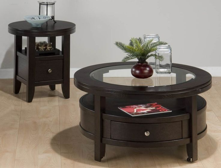 Marlon Contemporary Wenge Wood Glass 3pc Round Coffee Table Set