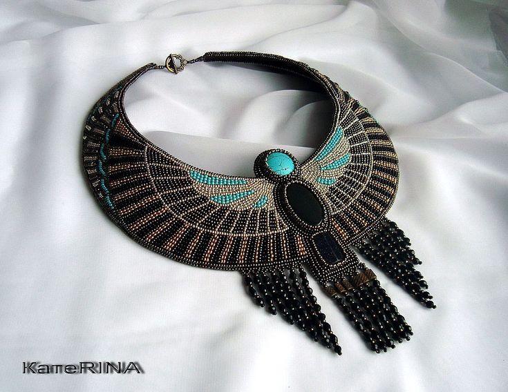 """Купить Египетское колье """"Маат"""" - египет, египетский стиль, египетское колье, египетские украшения, бисер"""