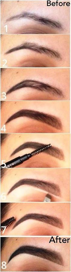 Gorgeous, defined eyebrows! 1. Apply foundation all around eyebrows. Highlight around eyebrows as shown. 2. Use a powder and a short brush to begin lining your brow, as shown 3. Begin filing in your brow with the powder, starting about mid-brow 4. Using a slightly lighter shade than used on the rest of your brow, shape and fill in the rest. 5. Smooth brow hairs up with clean dry brush 6. Highlight under brow as shown 7. Smooth end hairs out 8. You can apply mascara to your brows for this…