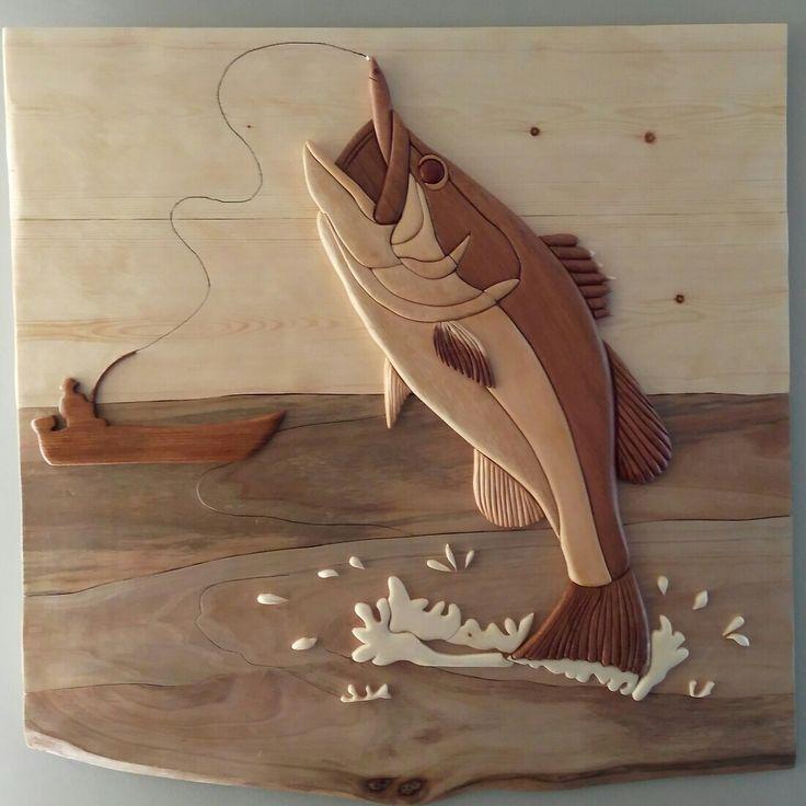 Ahşap kakma balık wood intarsia fishing