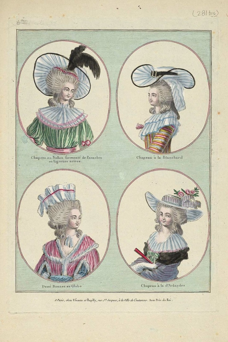 1785 Chapeau au Ballon surmonté de Panaches at Aigrettes noires, Chapeau à la Blanchard, Demi Bonnet au Globe, Chapeau à la d'Arlandes