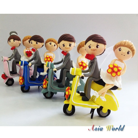Wedding Cake topper clay Vespa wedding clay doll by AsiaWorld, $78.90