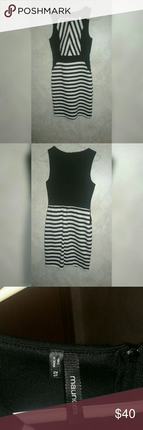 Maurice's Black and White striped bodycon dress Maurice's Black and White striped bodycon dress $40 Paid $70, worn once Size 1/2 Maurices Dresses
