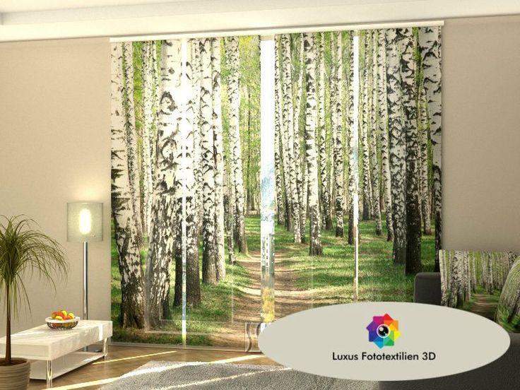 "Schiebegardine ""Birkenwald"" Schiebevorhang 4-er Set Luxus Fotodruck 3D Maßanfertigung kaufen bei Hood.de"