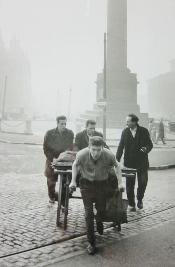 Cartier-Bresson when he came to Liverpool in 1962 as part of a team filming a TV documentary about northerners. Men with barrow