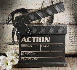 Decorative Metal Movie Set Clapper Board 14 x 18in...great for theatre theme basement