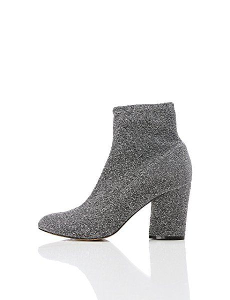 FIND Damen Stiefel mit Blockabsatz, Silber (PEWTER), 38 EU