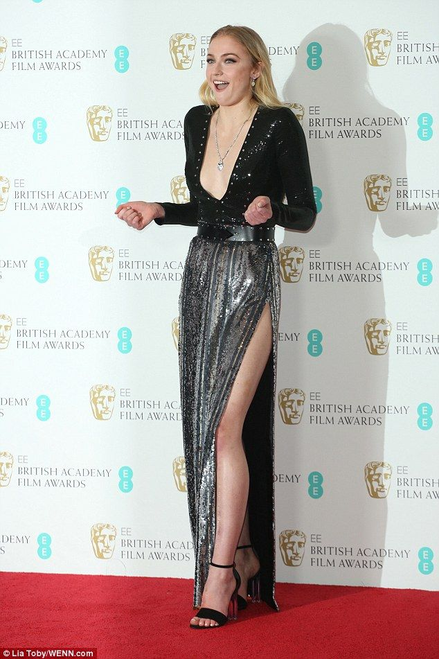 Feeling the chill: Sophie's dress exposed more than a little skin