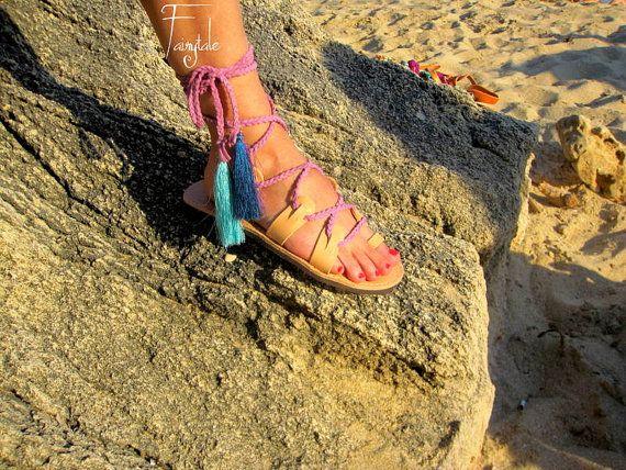 Anastasia  Lace up Greek Leather sandals Unisex greek by sivylla