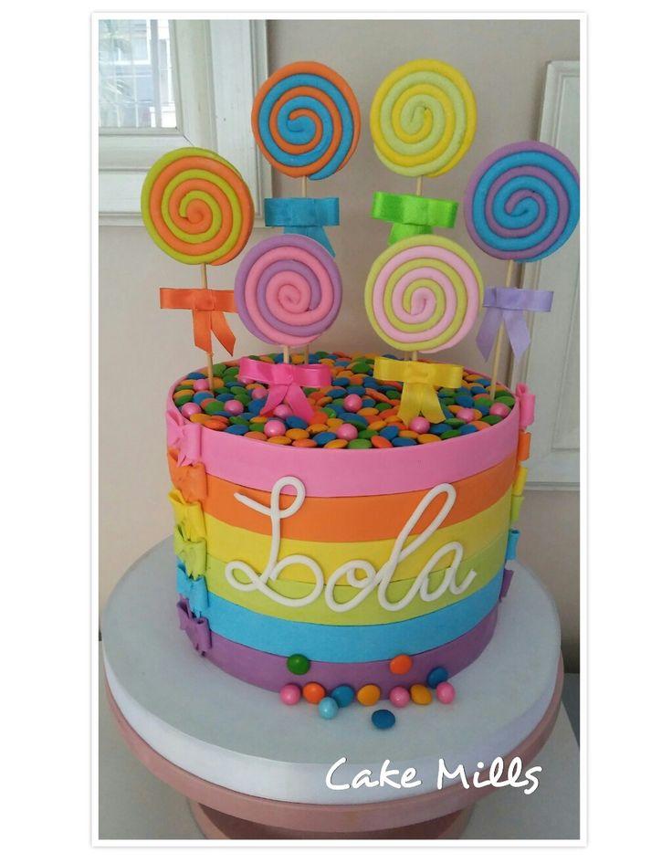 Lollipops rainbow cake