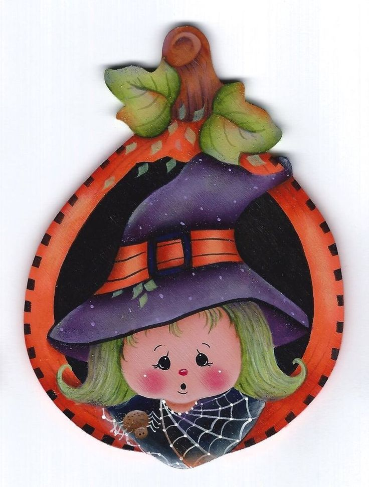 HALLOWEEN Witch in a Pumpkin Shell - Based on a Jamie Mills-Price design and hand painted by Pamela House