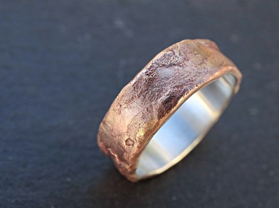 bronze ring silver band mens wedding ring bronze by CrazyAssJD
