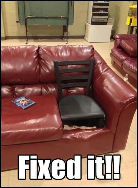 nailed it, couch nailed it, couch cushion missing, couch fixed it, redneck repair