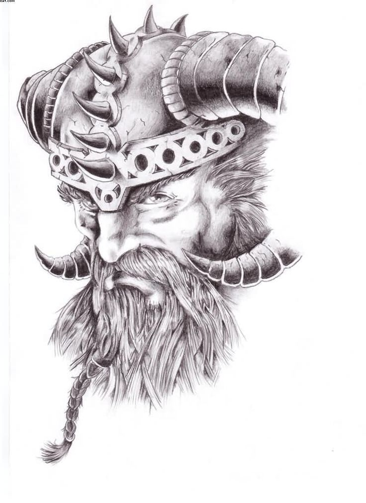 Warrior Viking Head Tattoo Design | Tattoobite.com