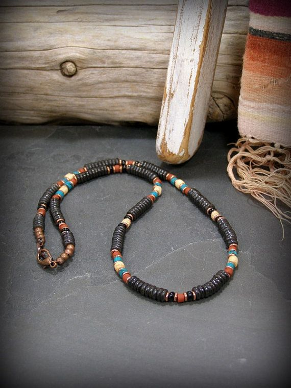 Mens beaded heishi necklace in a rustic native american style.  Beaded with dyed bone heishi, turquoise heishi and brick 6/0 seed beads.  By stoneweardesigns