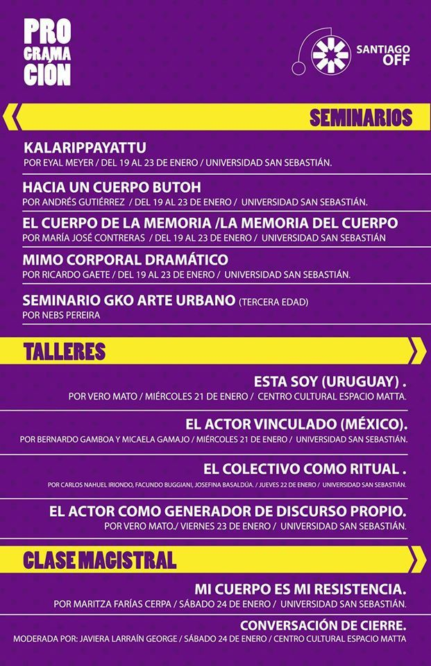 Santiago OFF / Participa de los Seminarios y talleres ;) #cultura #santiagooff #panoramas