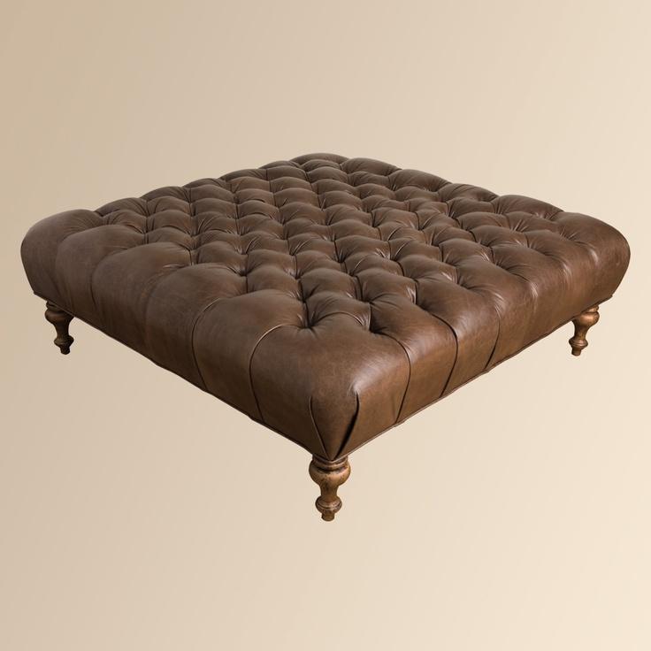 Club Leather Ottoman