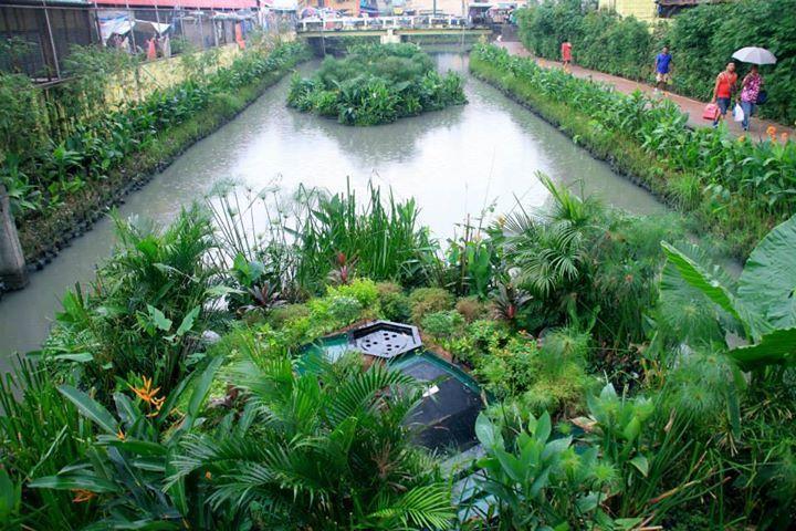 Ilhas artificiais que purificam a água de canais urbanos,Aplicação em Manila, Filipinas.