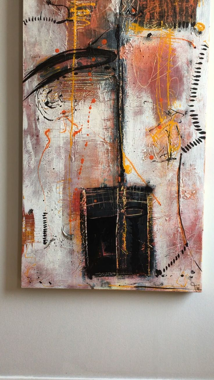 1/3 of a large Abstract painting 2 meters x 50 cm. Acrylic mixed media on canvas by Pauline Lindberg