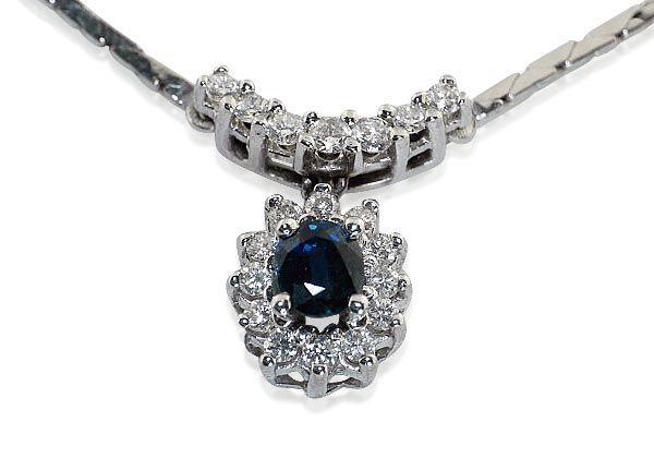 Schmuck kaufen Juwelier Halsband Saphir-Brillant-Kollier mit 0,35ct Brillanten und 0,46ct Saphir in Weissgold  #collier #brillanten #safir #halsband #kette #schmuck